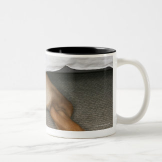 Feet and tail of yellow lab dog hidden under bed Two-Tone coffee mug