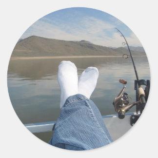 feet fishing classic round sticker