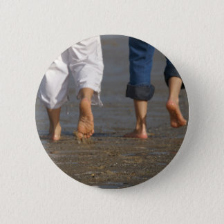 Feet in the sand pinback button