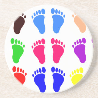 Feet of colors, colorful, funny tracks drink coaster