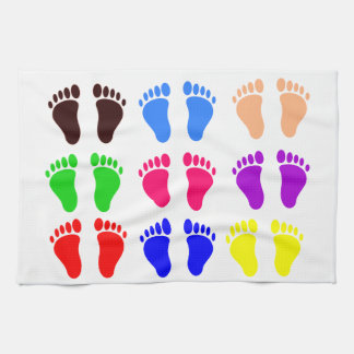 Feet of colors, colorful, funny tracks hand towel