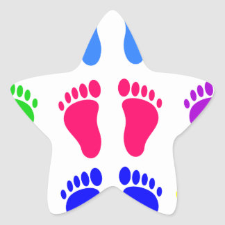 Feet of colors, colorful, funny tracks star sticker
