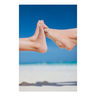 Feet on tropical sand poster