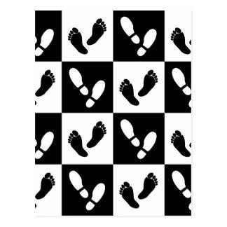 Feet & Shoes Pattern Black & White Checkerboard Postcard