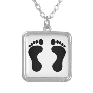 Feet Silver Plated Necklace