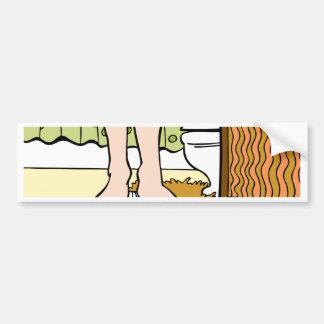 Feet Standing on Bathroom Scale Cartoon Bumper Sticker