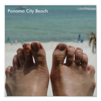 Feet with beach poster