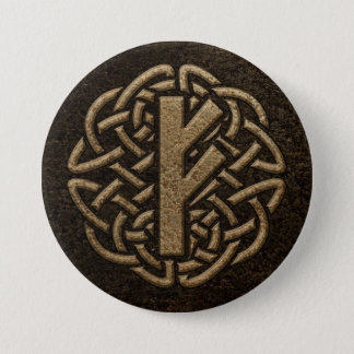 Fehu Rune Ancient Metal Embossed Amulet Button