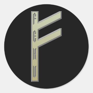 Fehu Rune gold Classic Round Sticker