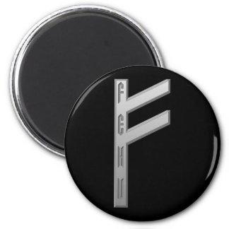Fehu Rune grey Magnet