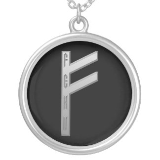 Fehu Rune grey Silver Plated Necklace