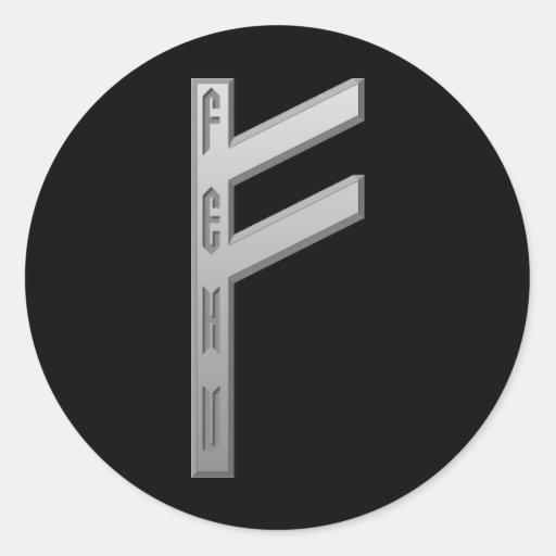 Fehu Rune grey Stickers