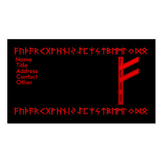 Fehu Rune red Business Card Template