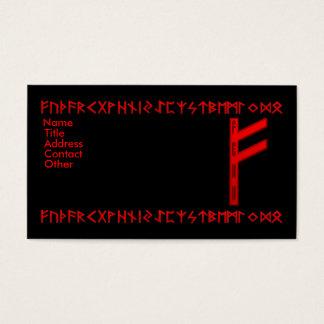Fehu Rune red Business Card
