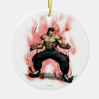 Fei Long Stance Double-Sided Ceramic Round Christmas Ornament