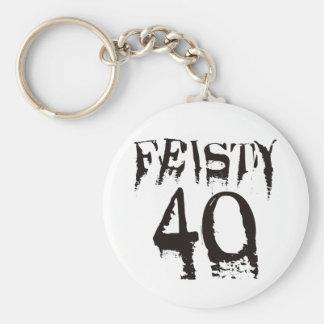 Feisty 40 basic round button keychain