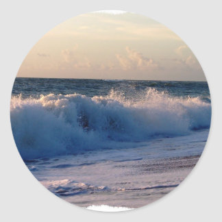 Feisty breaking waves on a florida beach classic round sticker