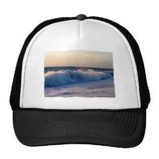 Feisty breaking waves on a florida beach mesh hat