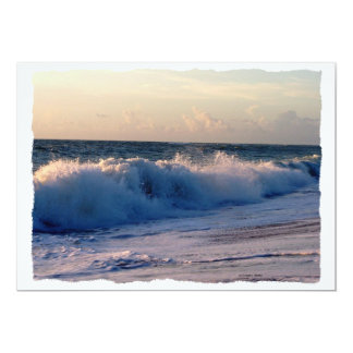 Feisty breaking waves on a florida beach 5x7 paper invitation card