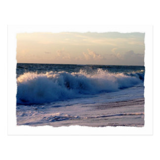Feisty breaking waves on a florida beach postcard