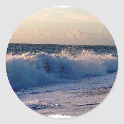 Feisty breaking waves on a florida beach stickers