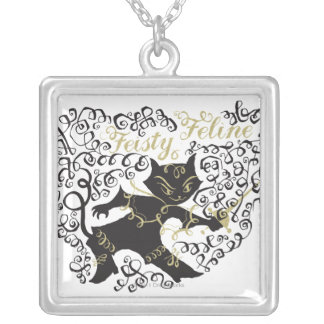 Feisty Feline Silver Plated Necklace