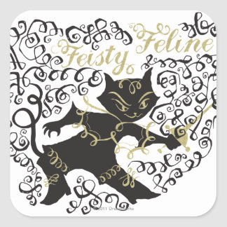 Feisty Feline Square Sticker