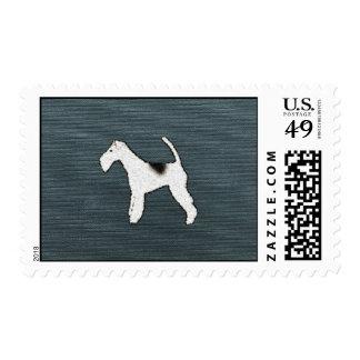 Feisty Fox Terrier Dog on Grayish Blue Postage