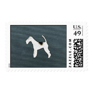 Feisty Fox Terrier Dog on Grayish Blue Postage Stamps