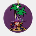 Feisty Girl Pirate Ceramic Ornament