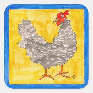 feisty hen square sticker