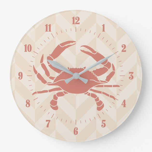 Studio Dalio - Orange Crab on Beige Zigzag Stripes Round Wall Clock