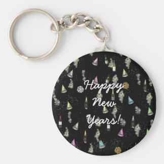 Felices Año Nuevo de celebración Llavero Redondo Tipo Pin