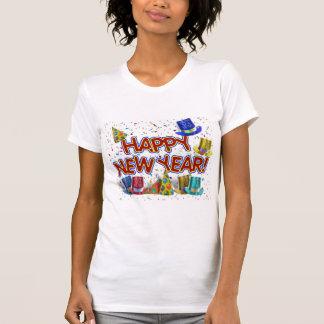Felices Año Nuevo de gorras y confeti del texto Camisas