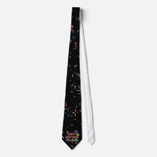 Felices Año Nuevo de gorras y confeti del texto Corbatas Personalizadas