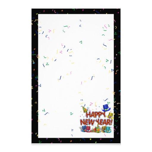 Felices Año Nuevo de gorras y confeti del texto Papeleria Personalizada