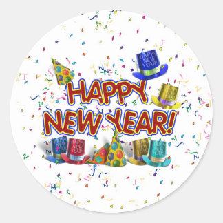 Felices Año Nuevo de gorras y confeti del texto Pegatina Redonda