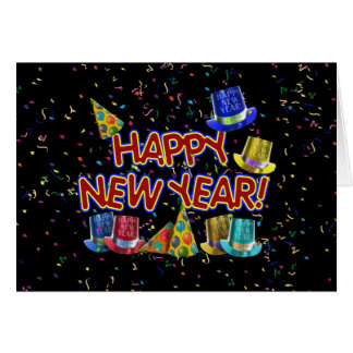 Felices Año Nuevo de gorras y confeti del texto Tarjeta De Felicitación