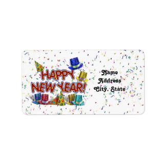 Felices Año Nuevo de gorras y confeti del texto w/ Etiquetas De Dirección