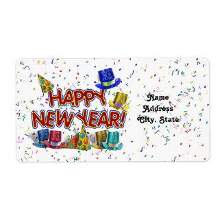 Felices Año Nuevo de gorras y confeti del texto w/ Etiquetas De Envío