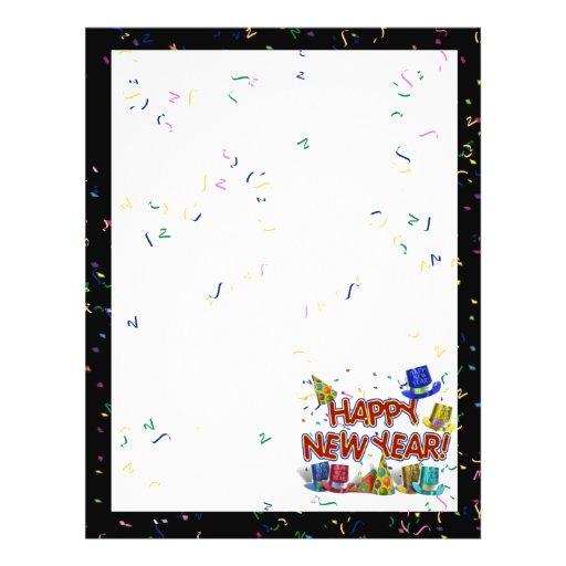Felices Año Nuevo de gorras y confeti del texto w/ Flyer Personalizado
