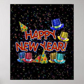 Felices Año Nuevo de gorras y confeti del texto w/ Póster