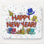Felices Año Nuevo de gorras y confeti del texto w/ Tapete De Raton