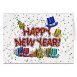 Felices Año Nuevo de gorras y confeti del texto w/ Tarjetas