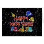Felices Año Nuevo de gorras y confeti del texto w/ Felicitacion
