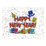 Felices Año Nuevo de gorras y confeti del texto w/ Tarjeta Postal