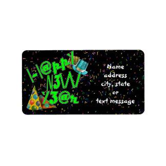 Felices Año Nuevo de LEET con confeti Etiquetas De Dirección