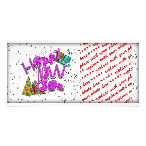 Felices Año Nuevo de LEET con confeti Tarjetas Personales