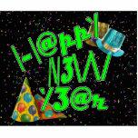 Felices Año Nuevo de LEET (verde del neón) Esculturas Fotograficas