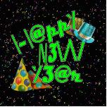 Felices Año Nuevo de LEET (verde del neón) Escultura Fotografica
